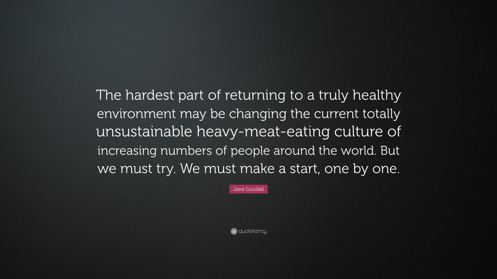 "Jane Goodall Quote: ""The hardest part of returning to a truly healthy environment may be changing the current totally unsustainable heavy-meat-eating culture of increasing numbers of people around the world. But we must try. We must make a start, one by one."""