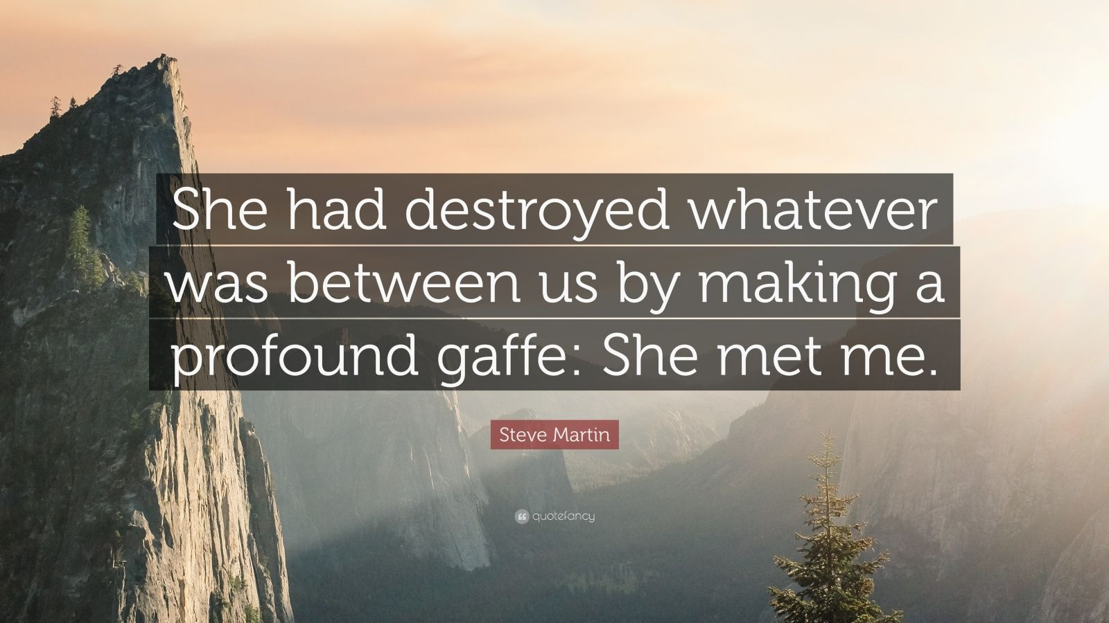 "Steve Martin Quote: ""She had destroyed whatever was between us by making a profound gaffe: She met me."""