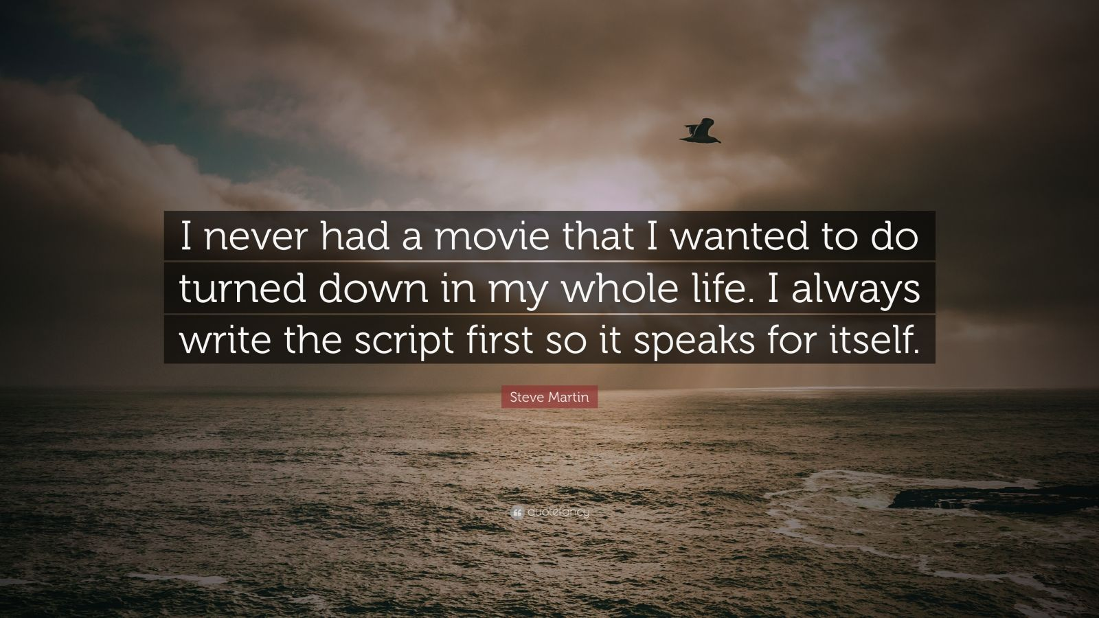 """Steve Martin Quote: """"I never had a movie that I wanted to do turned down in my whole life. I always write the script first so it speaks for itself."""""""