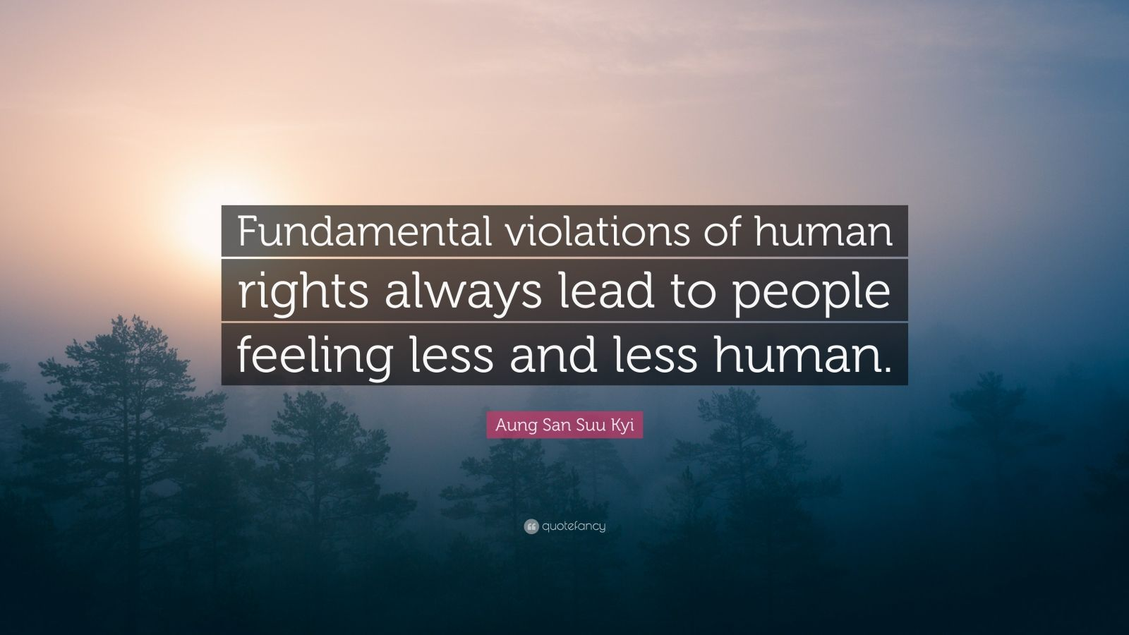 """Aung San Suu Kyi Quote: """"Fundamental violations of human rights always lead to people feeling less and less human."""""""