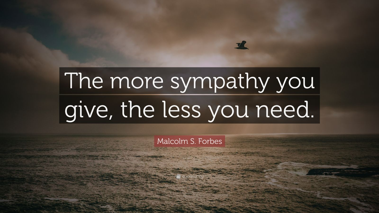 "Malcolm S. Forbes Quote: ""The more sympathy you give, the less you need."""