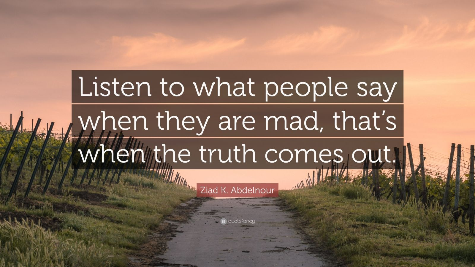 "Ziad K. Abdelnour Quote: ""Listen to what people say when they are mad, that's when the truth comes out."""