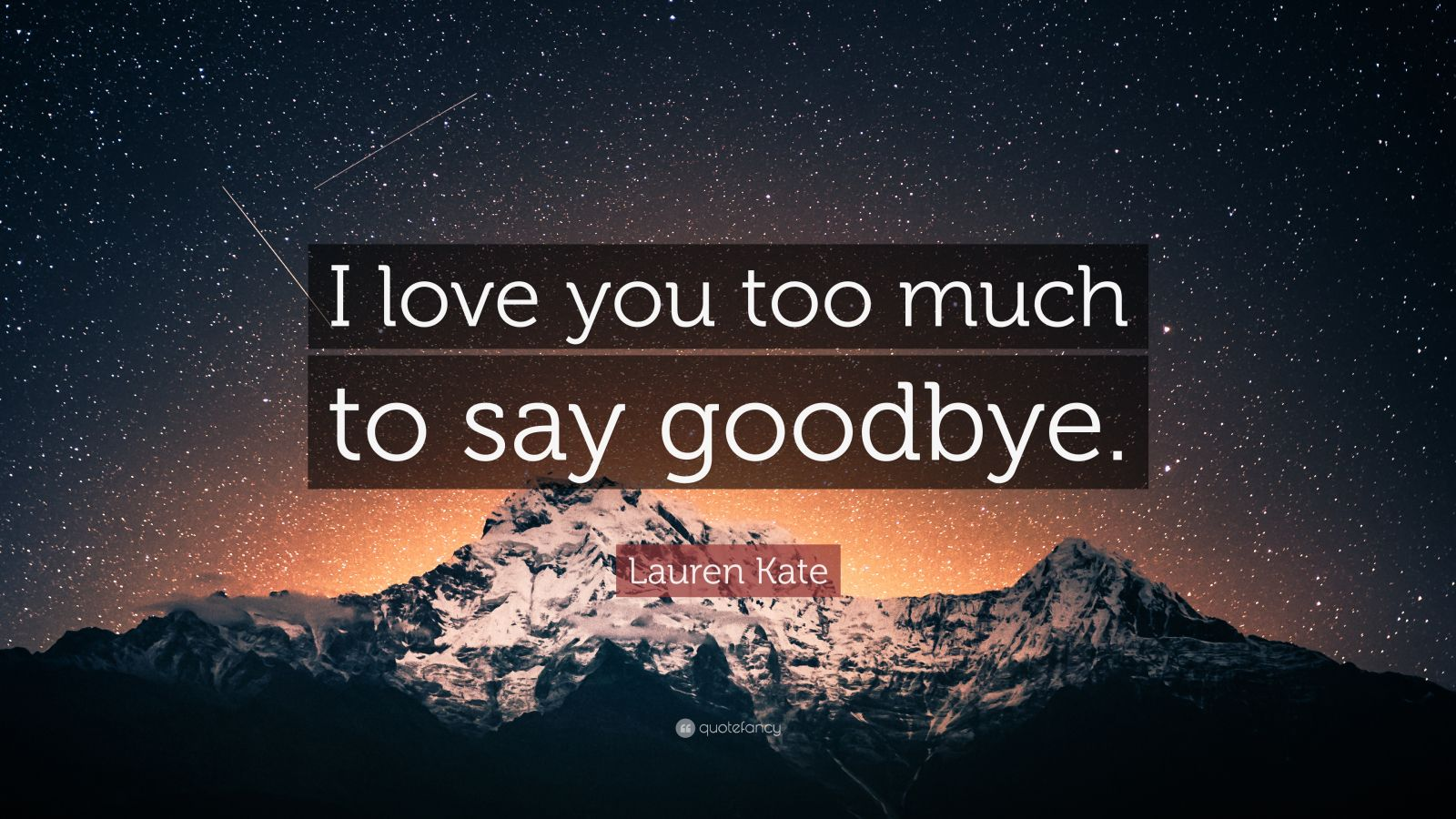 Lauren Kate Quote: ?I love you too much to say goodbye.? (9 wallpapers) - Quotefancy