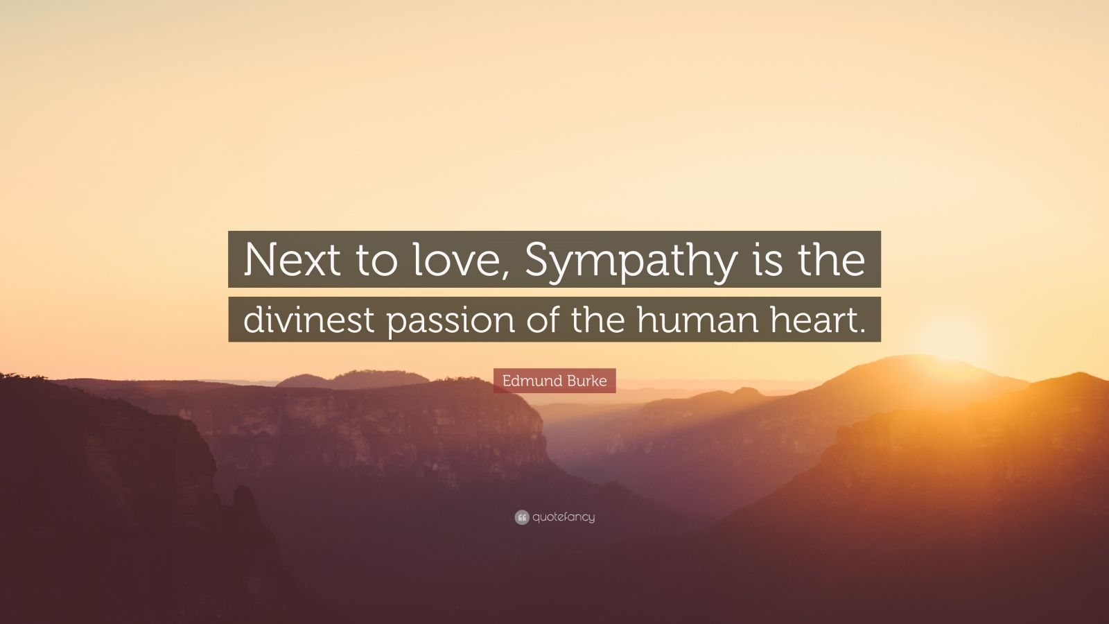 "Edmund Burke Quote: ""Next to love, Sympathy is the divinest passion of the human heart."""