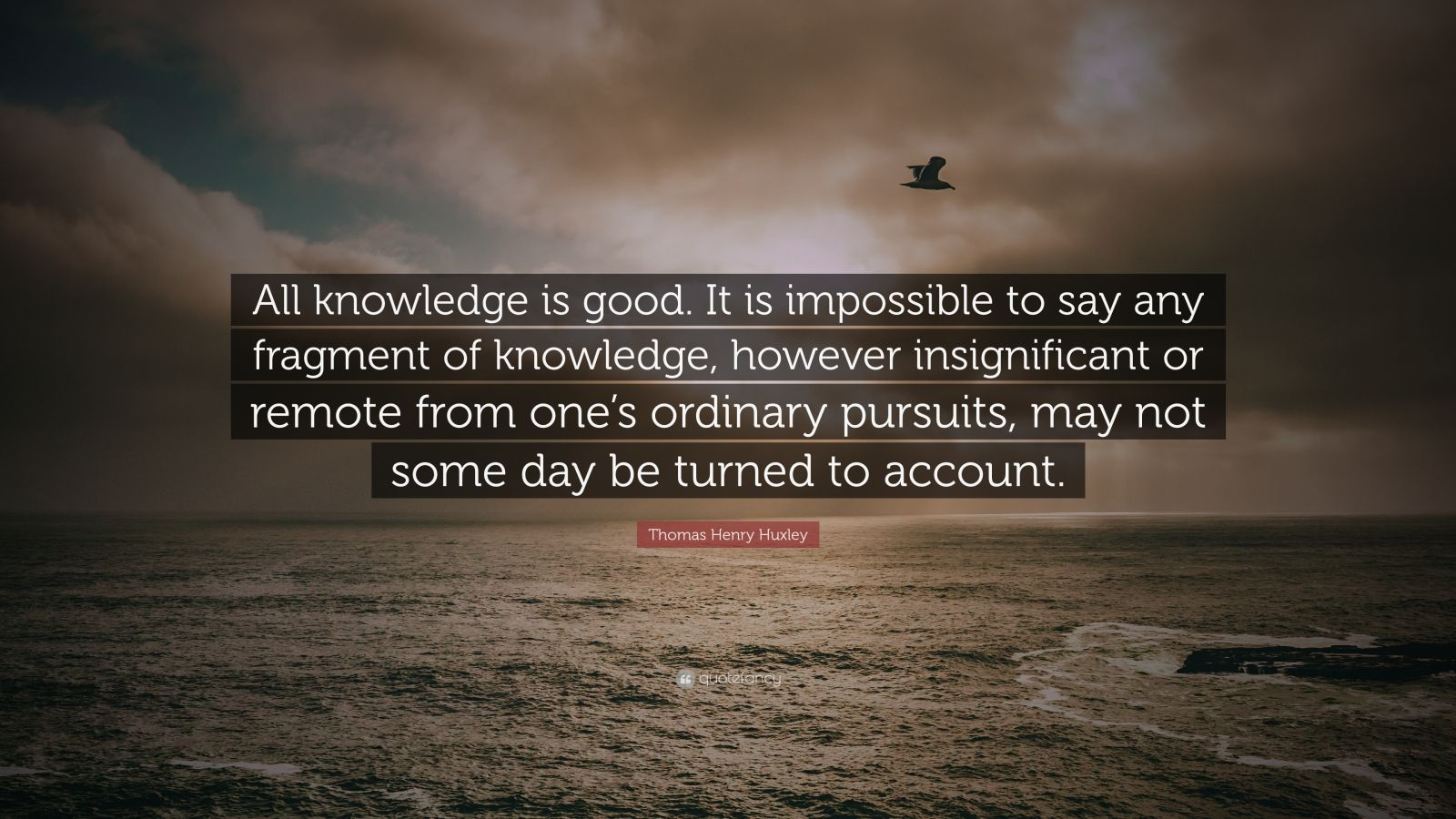 "Thomas Henry Huxley Quote: ""All knowledge is good. It is impossible to say any fragment of knowledge, however insignificant or remote from one's ordinary pursuits, may not some day be turned to account."""