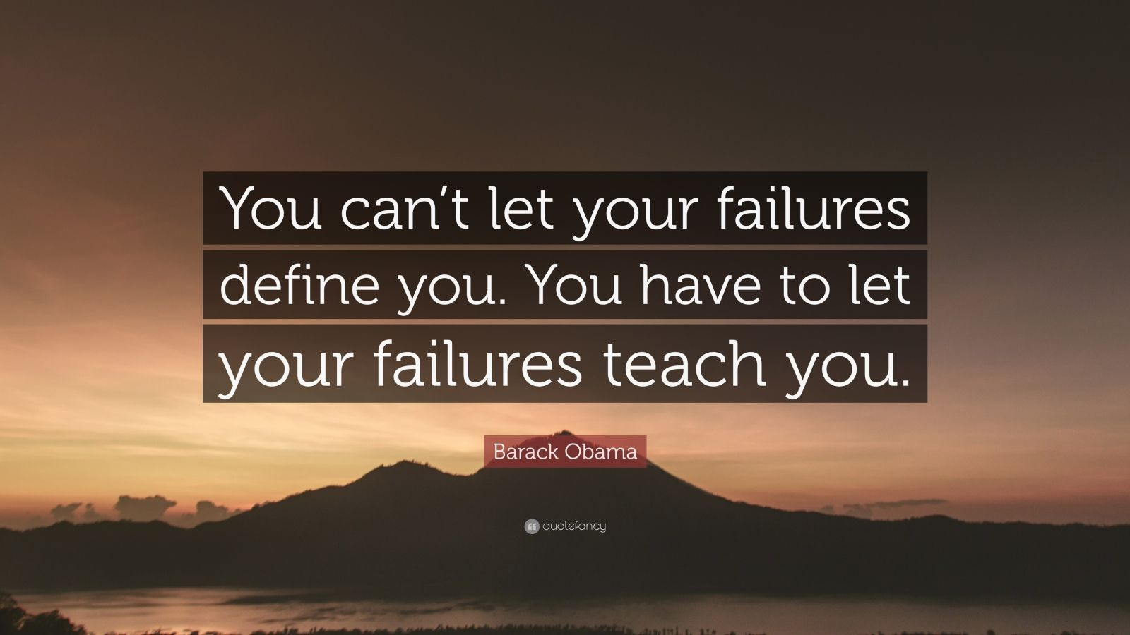 "Barack Obama Quote: ""You can't let your failures define you. You have to let your failures teach you."""