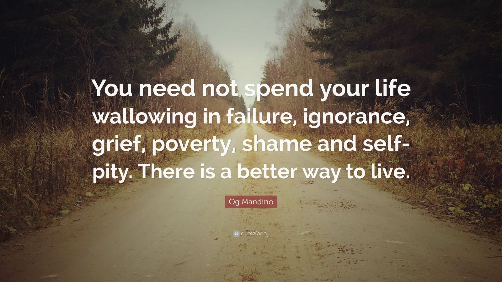 "Og Mandino Quote: ""You need not spend your life wallowing in failure, ignorance, grief, poverty, shame and self-pity. There is a better way to live."""