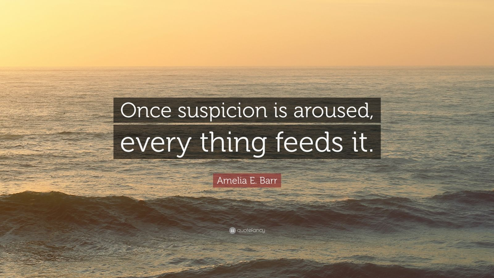 """Amelia E. Barr Quote: """"Once suspicion is aroused, every thing feeds it."""""""