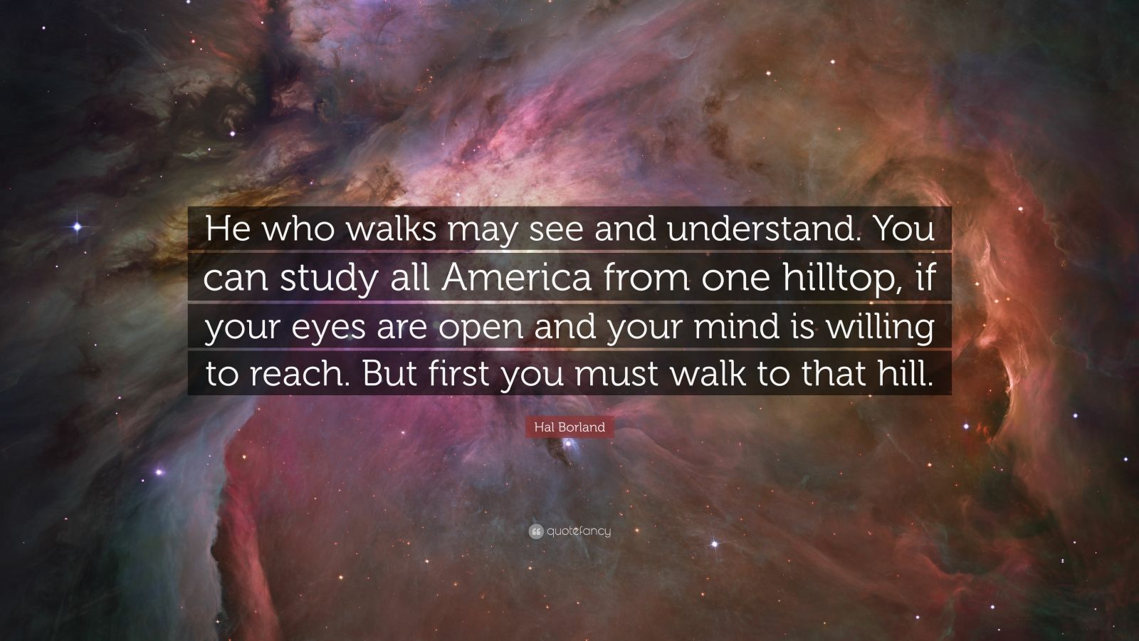 """Hal Borland Quote: """"He who walks may see and understand. You can study all America from one hilltop, if your eyes are open and your mind is willing to reach. But first you must walk to that hill."""""""