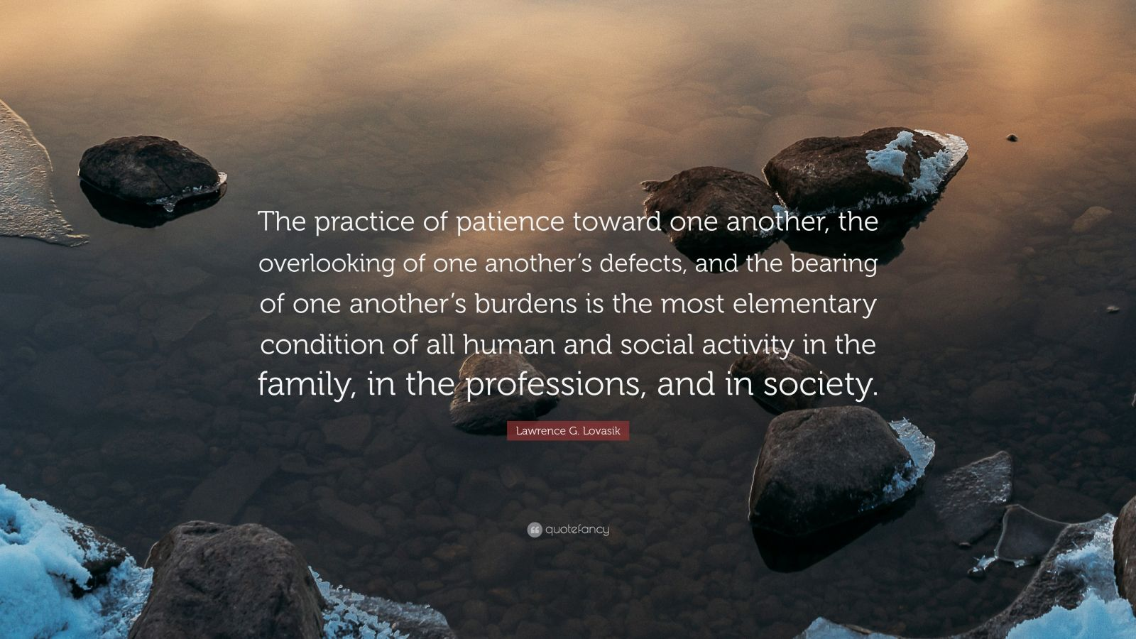 "Lawrence G. Lovasik Quote: ""The practice of patience toward one another, the overlooking of one another's defects, and the bearing of one another's burdens is the most elementary condition of all human and social activity in the family, in the professions, and in society."""
