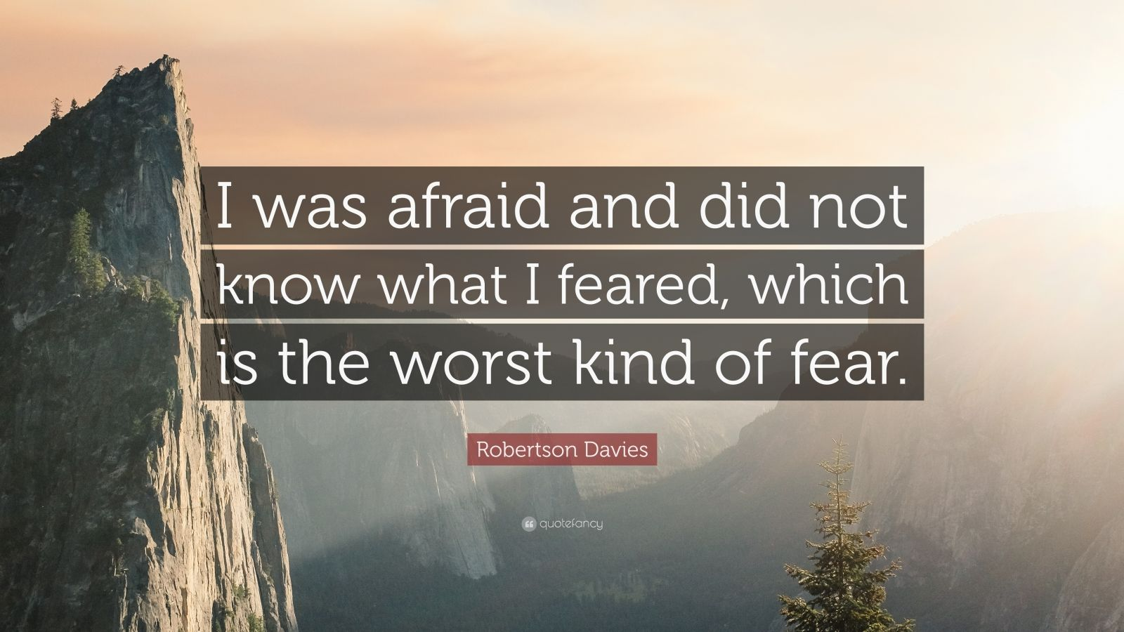 """Robertson Davies Quote: """"I was afraid and did not know what I feared, which is the worst kind of fear."""""""