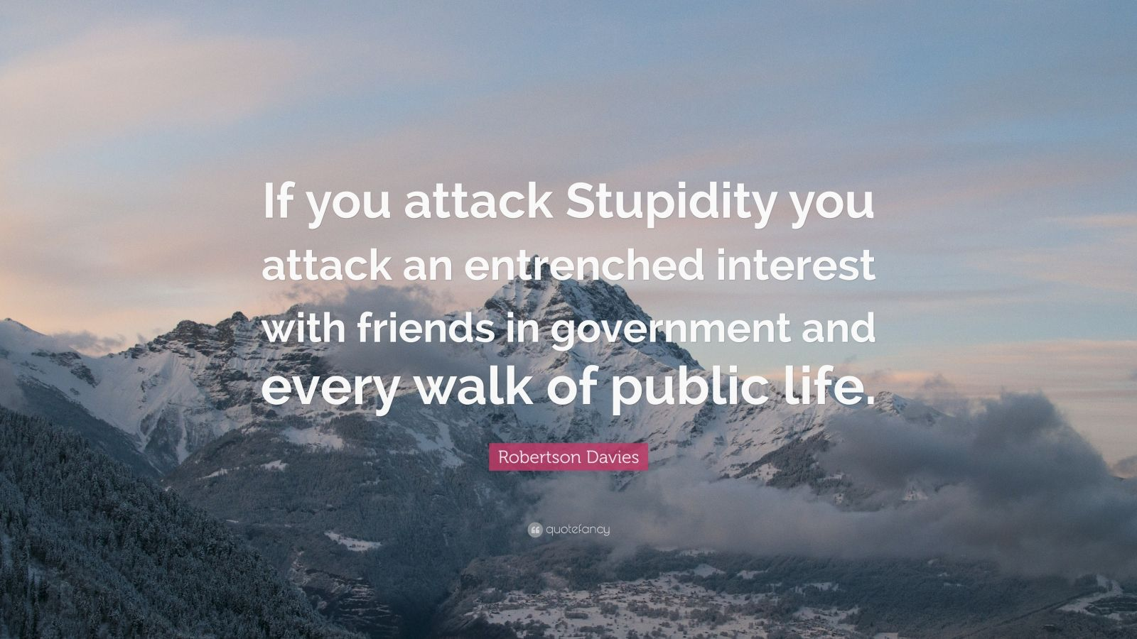 """Robertson Davies Quote: """"If you attack Stupidity you attack an entrenched interest with friends in government and every walk of public life."""""""