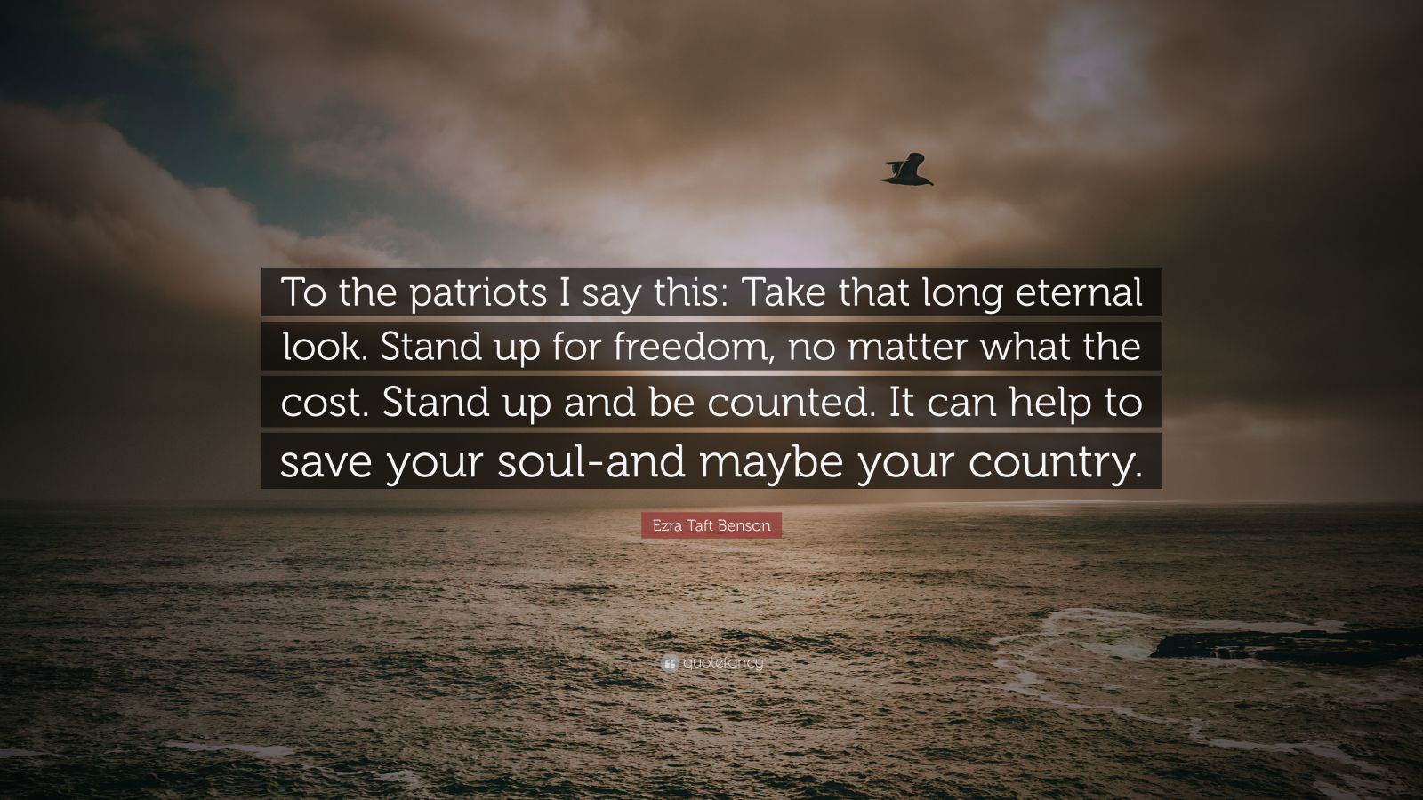 "Ezra Taft Benson Quote: ""To the patriots I say this: Take that long eternal look. Stand up for freedom, no matter what the cost. Stand up and be counted. It can help to save your soul-and maybe your country."""