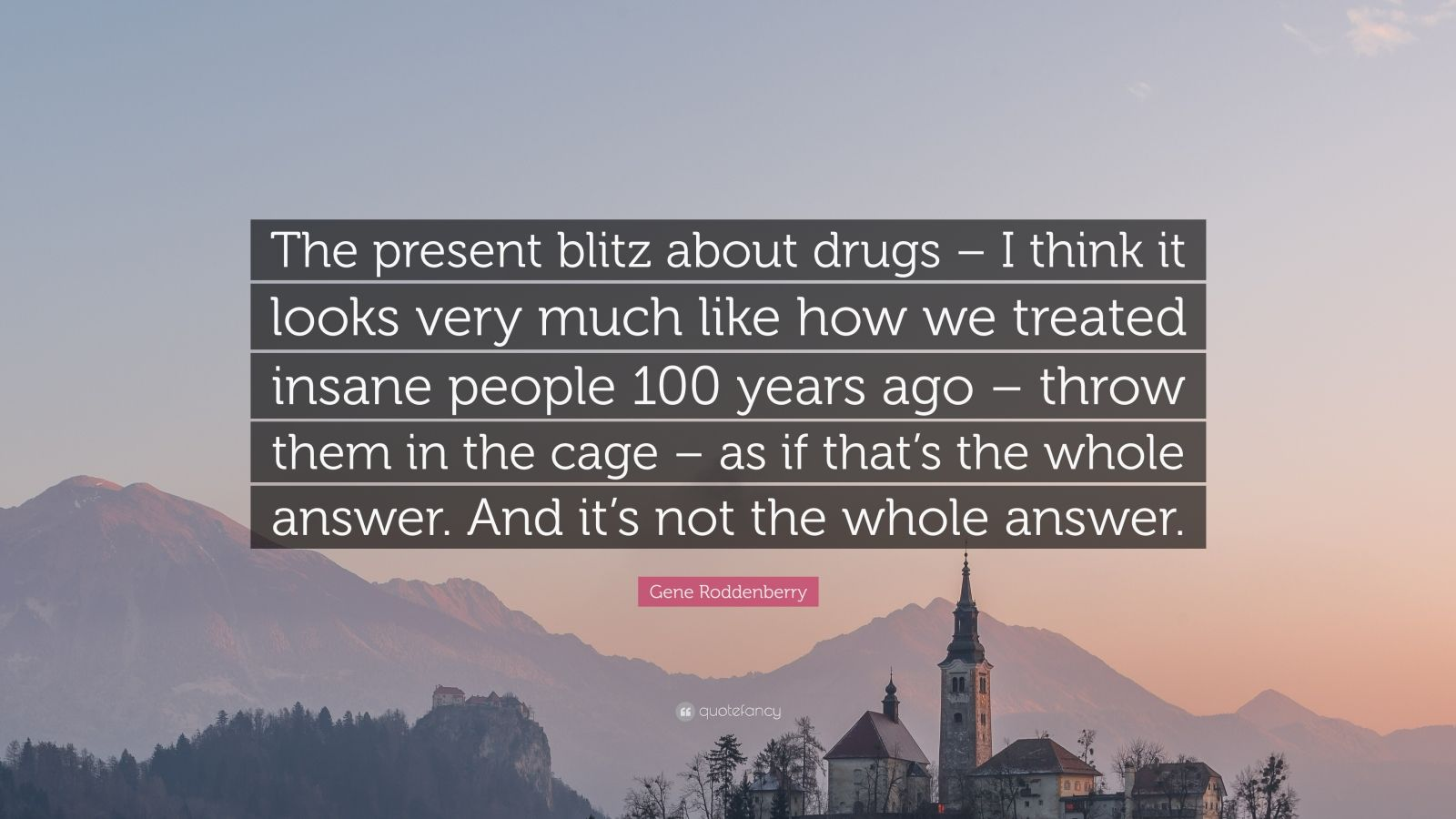 """Gene Roddenberry Quote: """"The present blitz about drugs – I think it looks very much like how we treated insane people 100 years ago – throw them in the cage – as if that's the whole answer. And it's not the whole answer."""""""