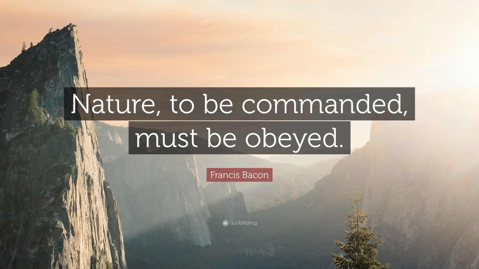 """Francis Bacon Quote: """"Nature, to be commanded, must be obeyed."""""""