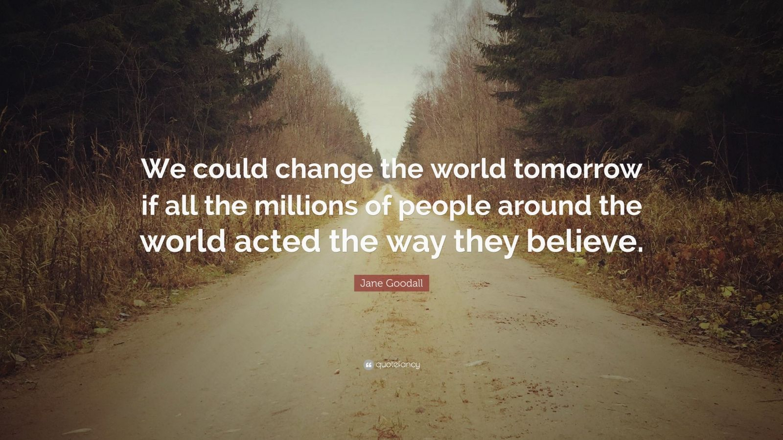 """Jane Goodall Quote: """"We could change the world tomorrow if all the millions of people around the world acted the way they believe."""""""