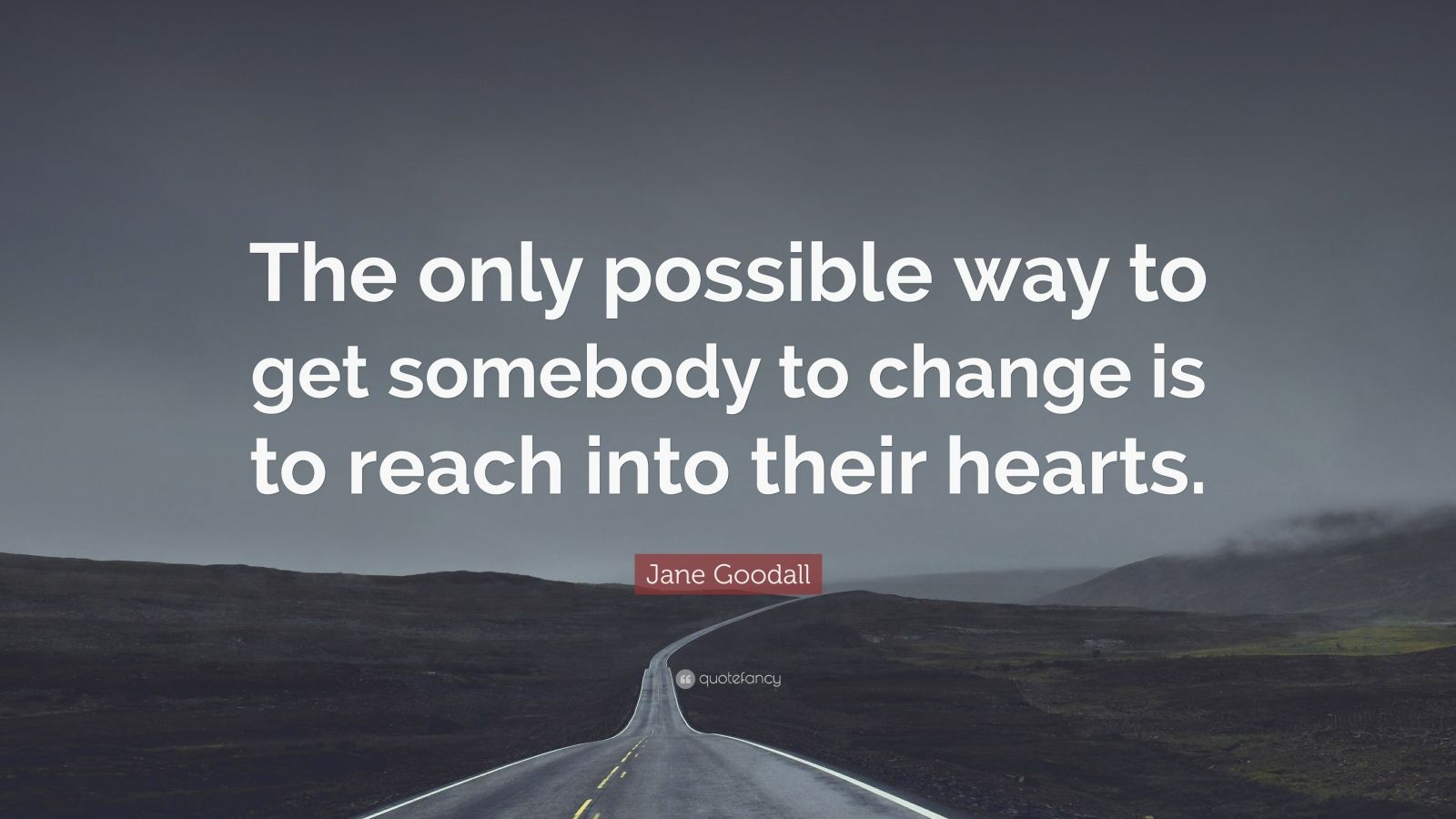 "Jane Goodall Quote: ""The only possible way to get somebody to change is to reach into their hearts."""