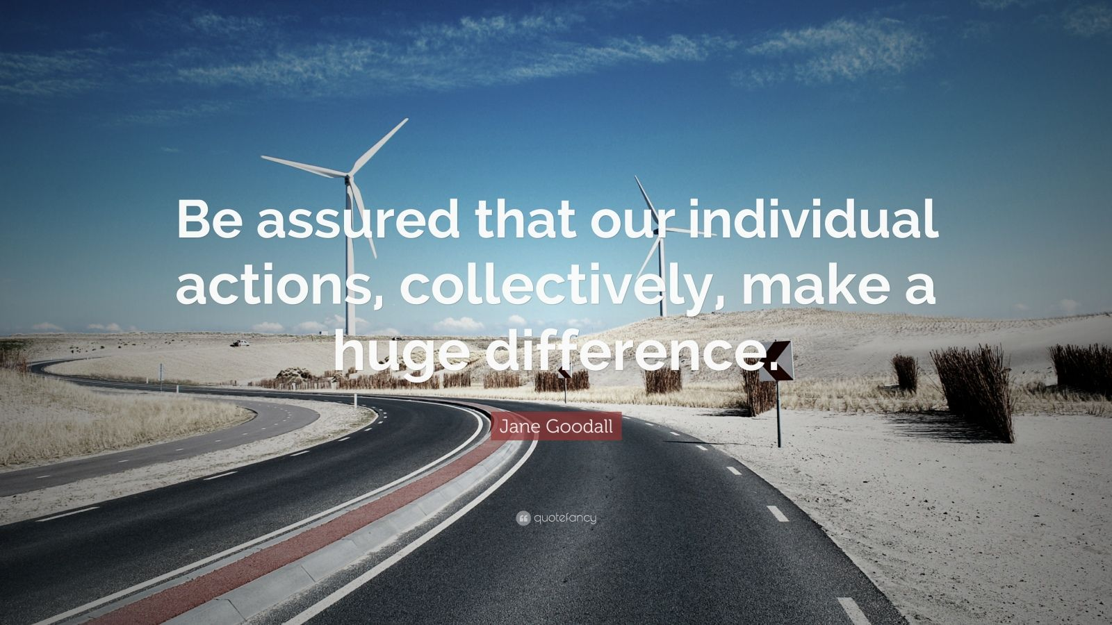 "Jane Goodall Quote: ""Be assured that our individual actions, collectively, make a huge difference."""