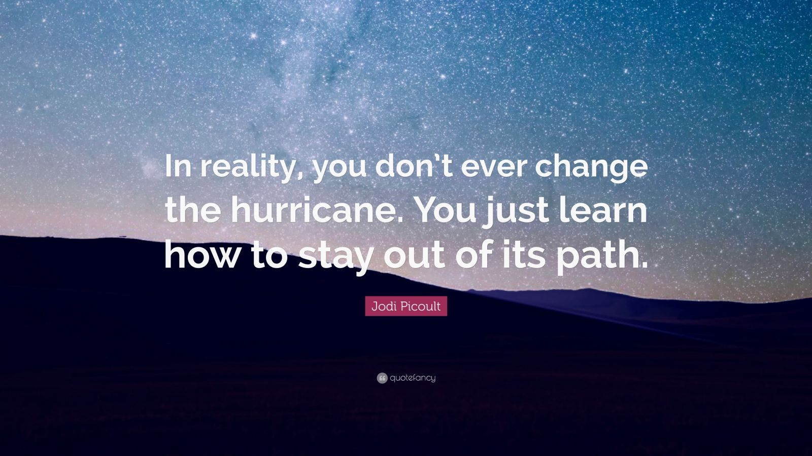 "Jodi Picoult Quote: ""In reality, you don't ever change the hurricane. You just learn how to stay out of its path."""