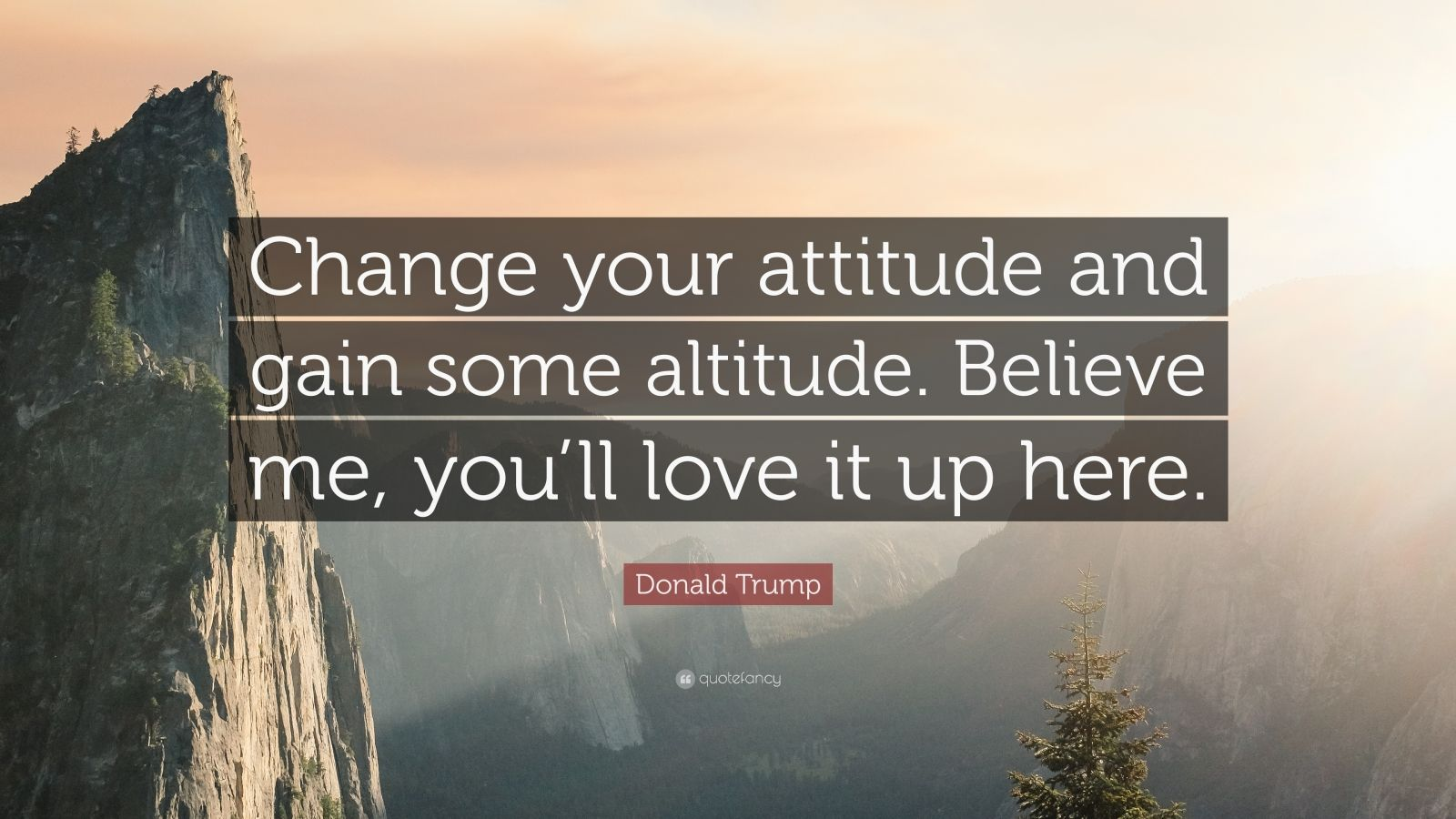 "Donald Trump Quote: ""Change your attitude and gain some altitude. Believe me, you'll love it up here."""