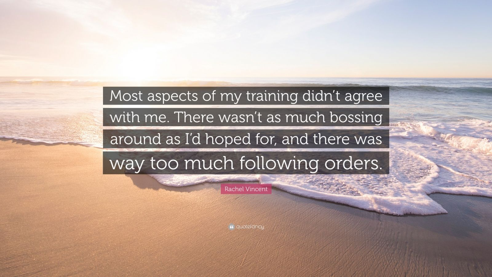 """Rachel Vincent Quote: """"Most aspects of my training didn't agree with me. There wasn't as much bossing around as I'd hoped for, and there was way too much following orders."""""""