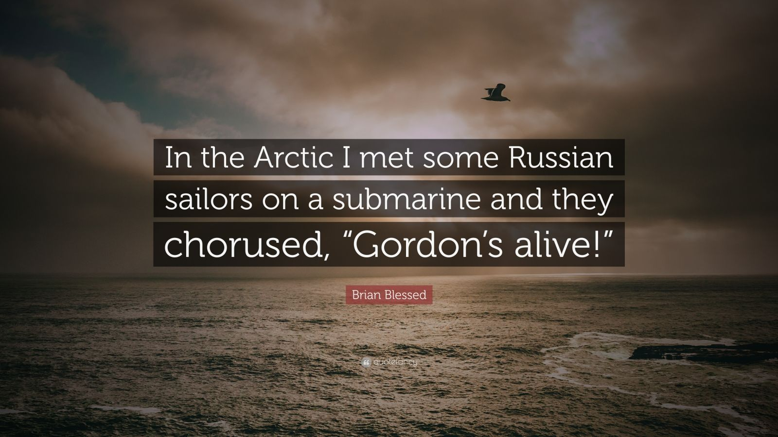 "Brian Blessed Quote: ""In the Arctic I met some Russian sailors on a submarine and they chorused, ""Gordon's alive!"""""