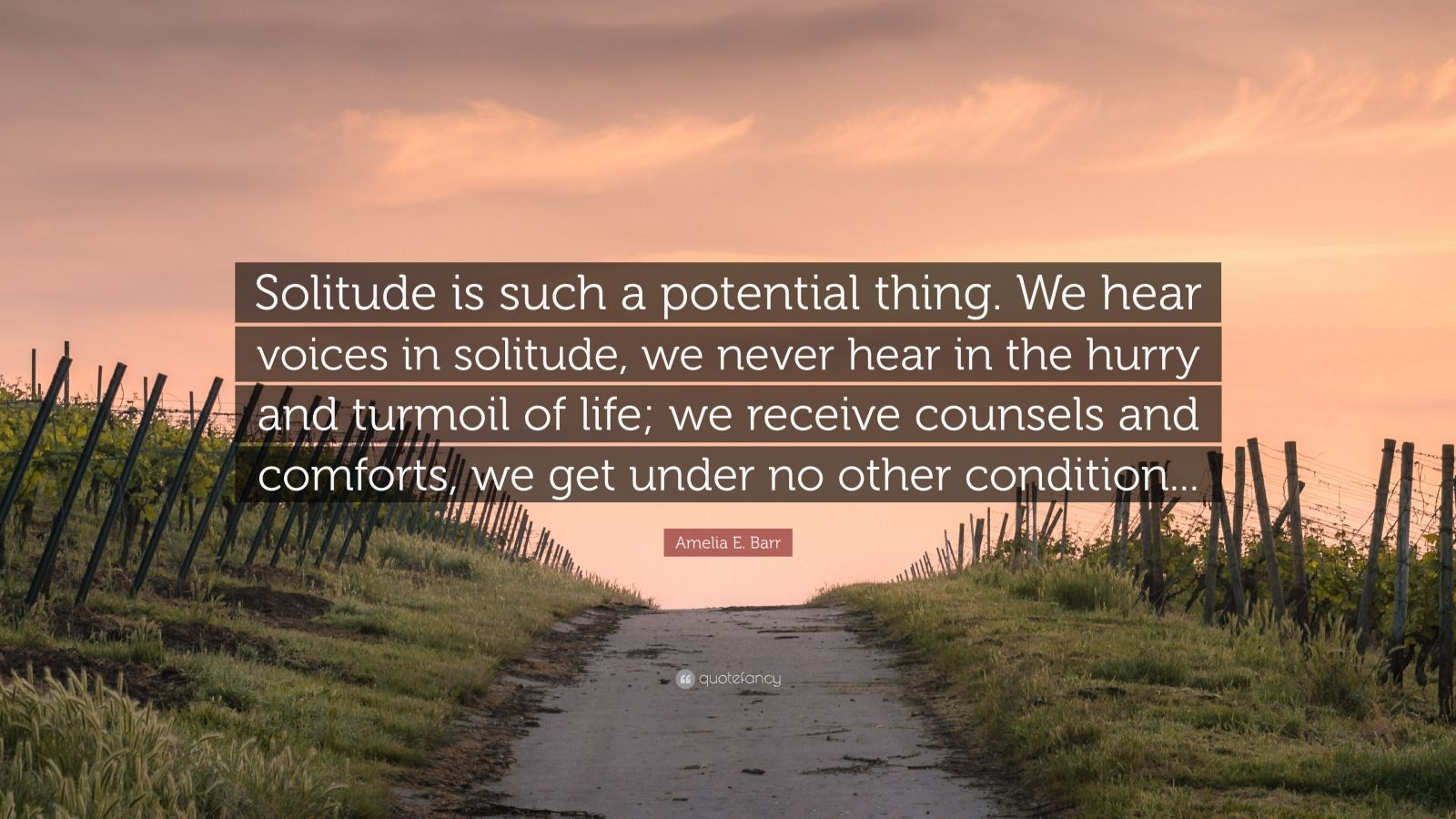 """Amelia E. Barr Quote: """"Solitude is such a potential thing. We hear voices in solitude, we never hear in the hurry and turmoil of life; we receive counsels and comforts, we get under no other condition..."""""""