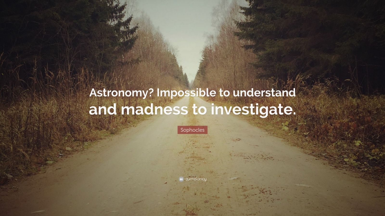 "Sophocles Quote: ""Astronomy? Impossible to understand and madness to investigate."""