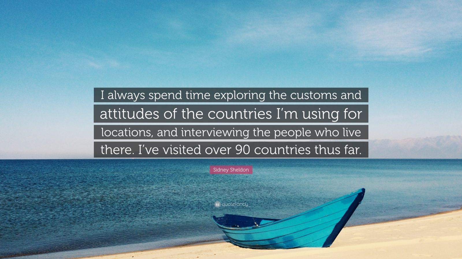 "Sidney Sheldon Quote: ""I always spend time exploring the customs and attitudes of the countries I'm using for locations, and interviewing the people who live there. I've visited over 90 countries thus far."""