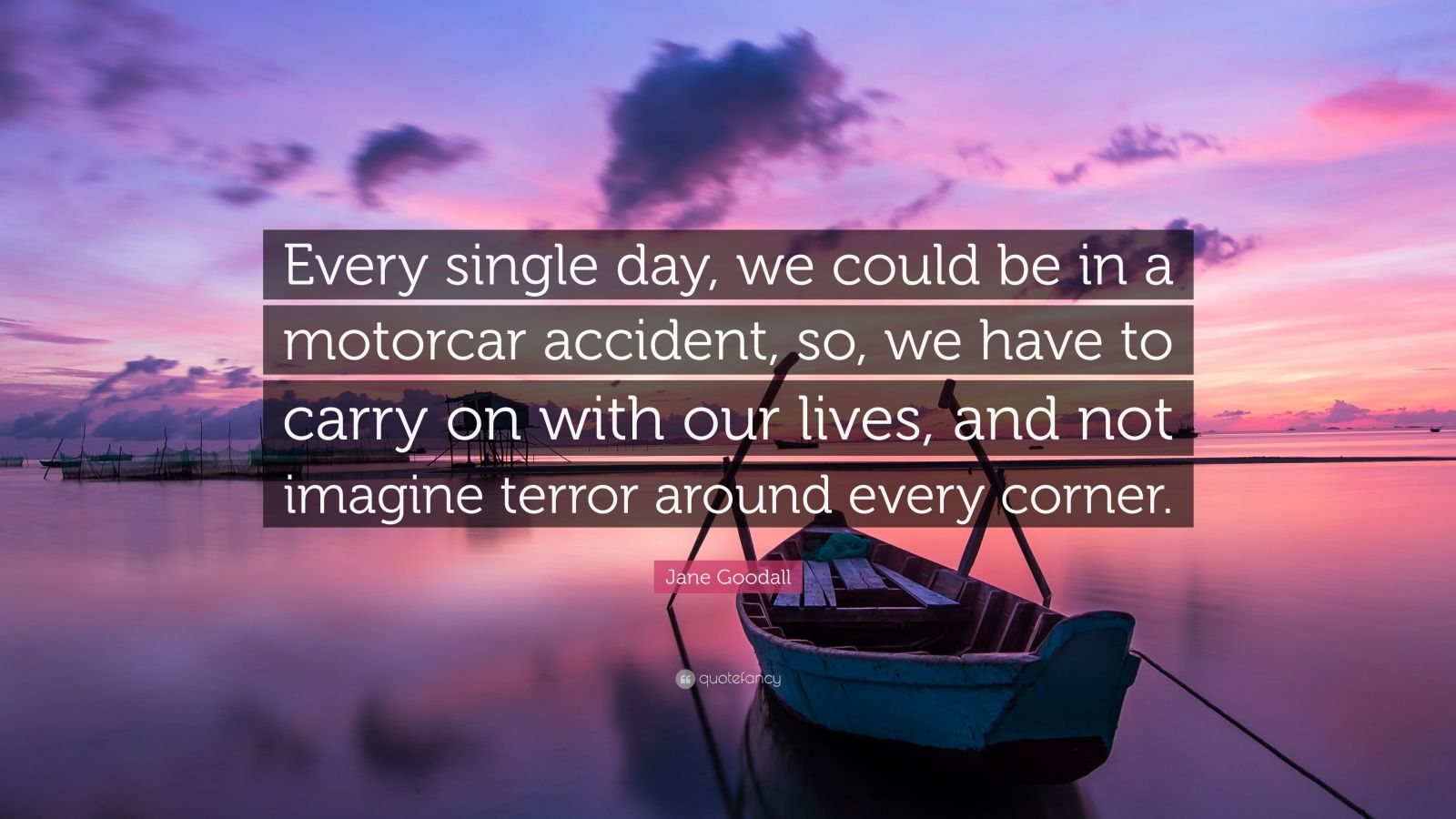 """Jane Goodall Quote: """"Every single day, we could be in a motorcar accident, so, we have to carry on with our lives, and not imagine terror around every corner."""""""