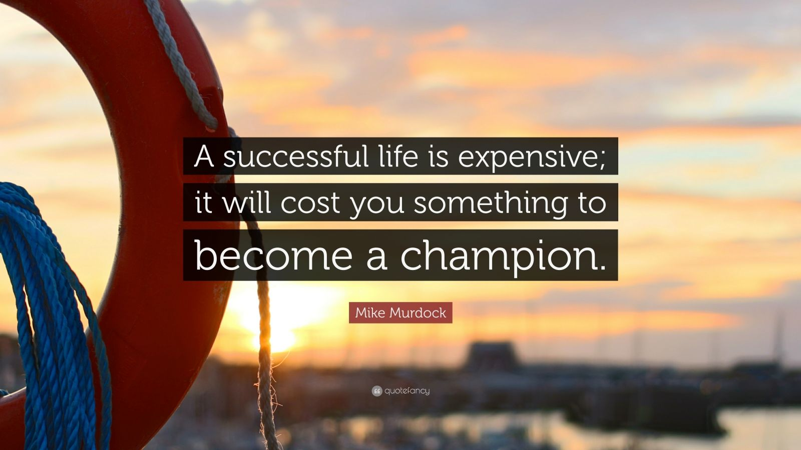 """Mike Murdock Quote: """"A successful life is expensive; it will cost you something to become a champion."""""""