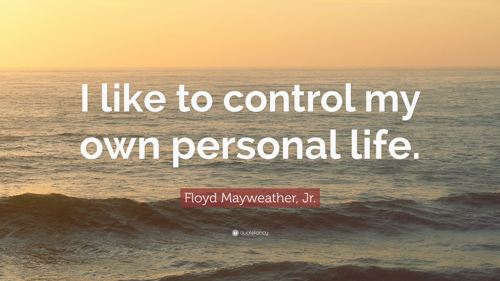 "Floyd Mayweather, Jr. Quote: ""I like to control my own personal life."""