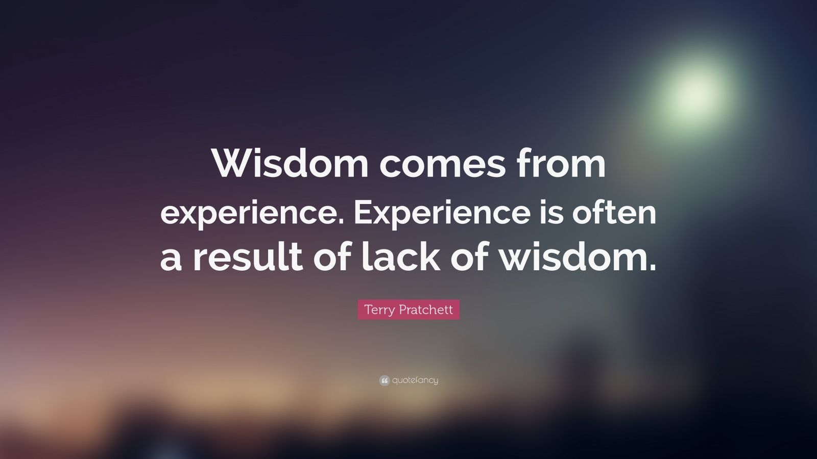 "Terry Pratchett Quote: ""Wisdom comes from experience. Experience is often a result of lack of wisdom."""