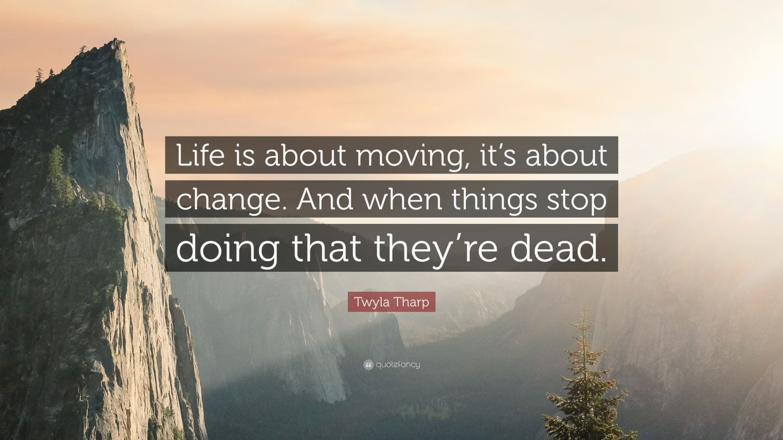 """Twyla Tharp Quote: """"Life is about moving, it's about change. And when things stop doing that they're dead."""""""