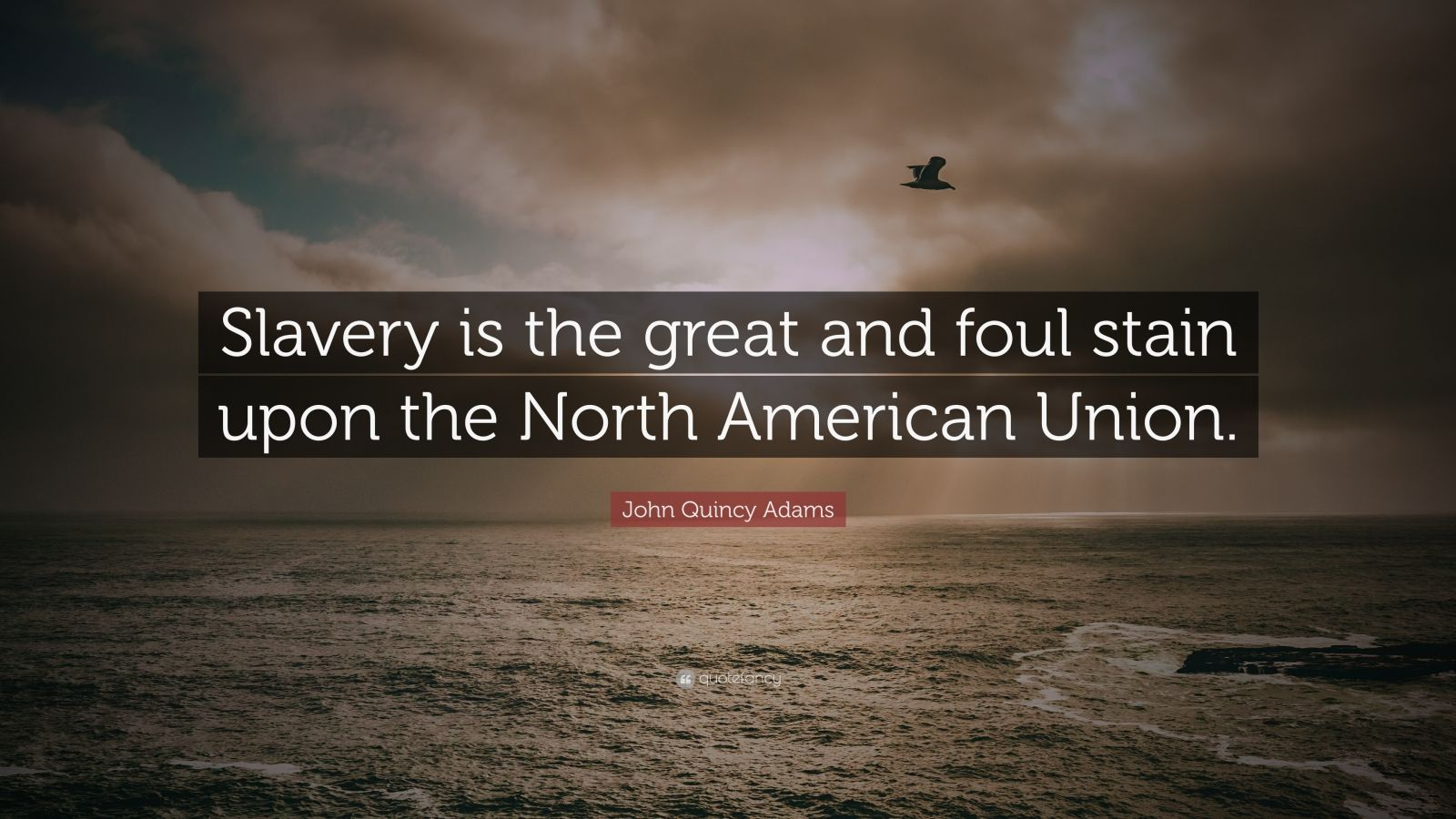 "John Quincy Adams Quote: ""Slavery is the great and foul stain upon the North American Union."""