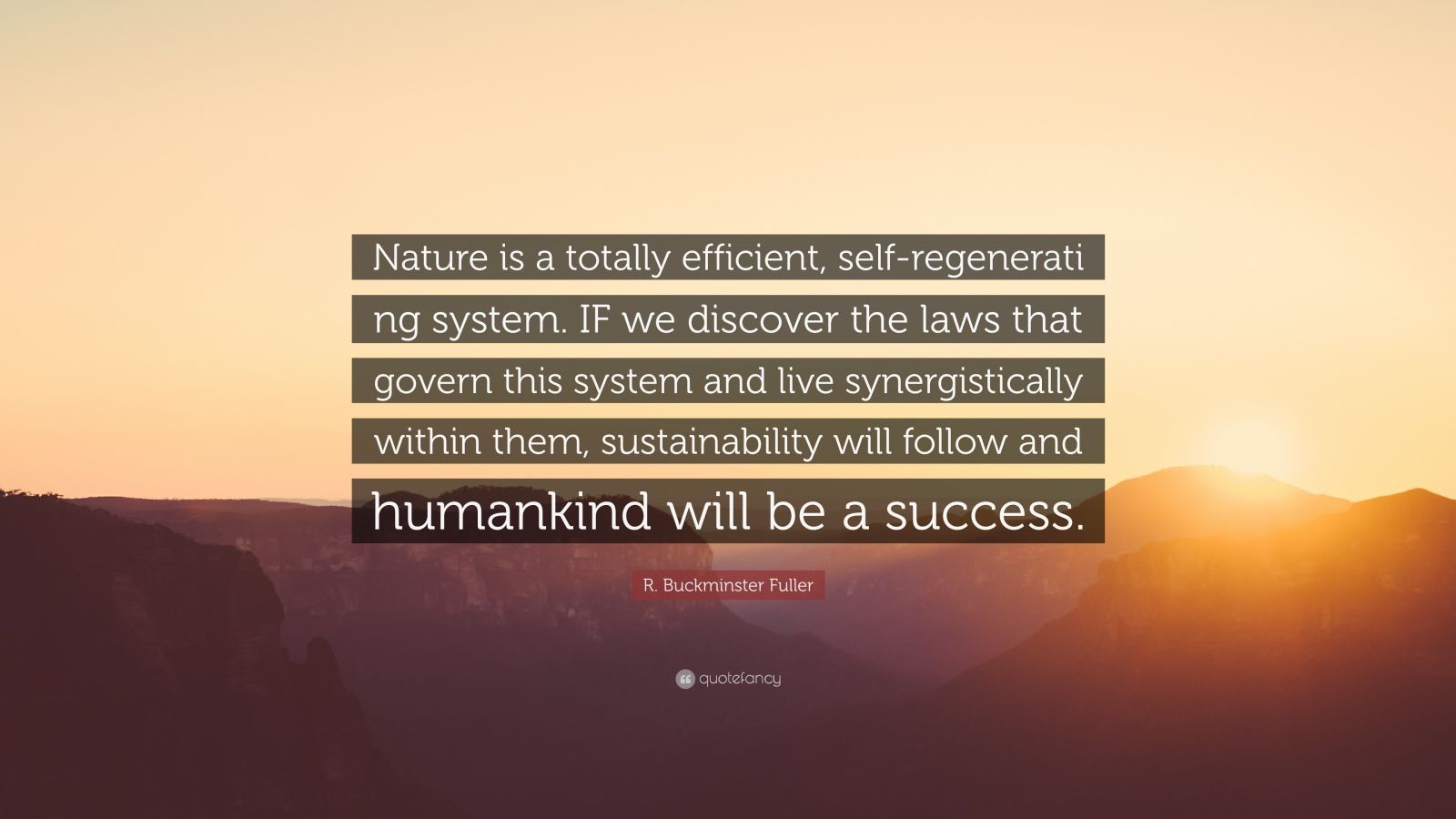 "R. Buckminster Fuller Quote: ""Nature is a totally efficient, self-regenerati ng system. IF we discover the laws that govern this system and live synergistically within them, sustainability will follow and humankind will be a success."""