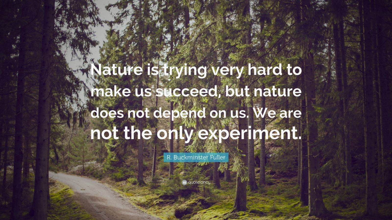 "R. Buckminster Fuller Quote: ""Nature is trying very hard to make us succeed, but nature does not depend on us. We are not the only experiment."""