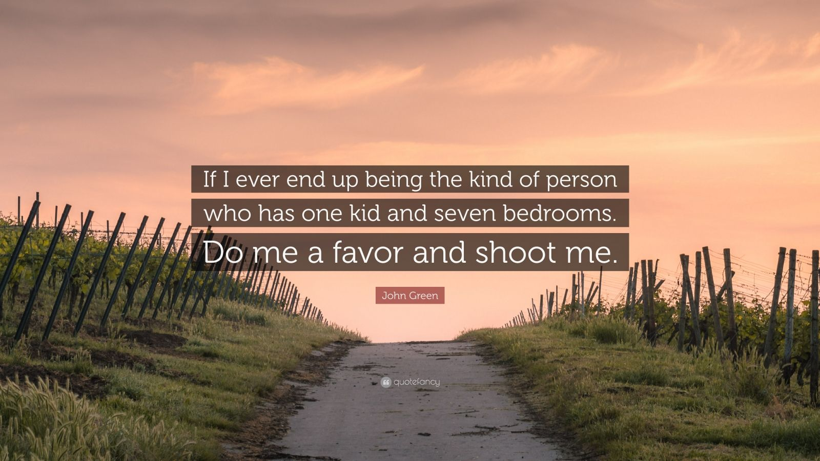 "John Green Quote: ""If I ever end up being the kind of person who has one kid and seven bedrooms. Do me a favor and shoot me."""