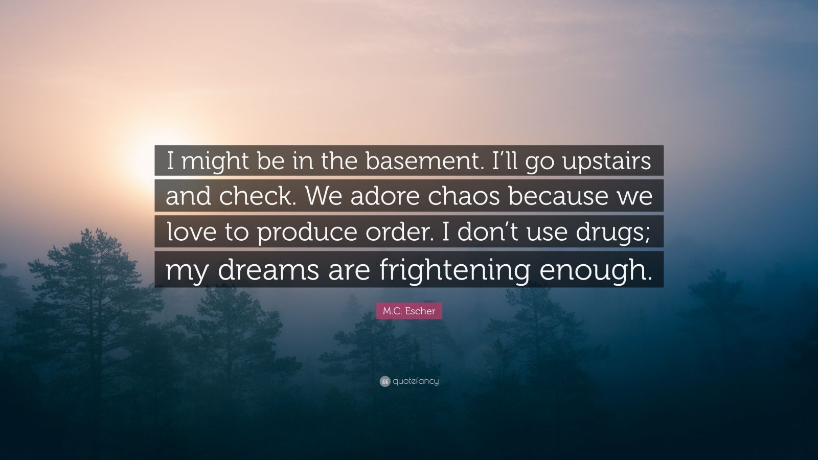 """M.C. Escher Quote: """"I might be in the basement. I'll go upstairs and check. We adore chaos because we love to produce order. I don't use drugs; my dreams are frightening enough."""""""