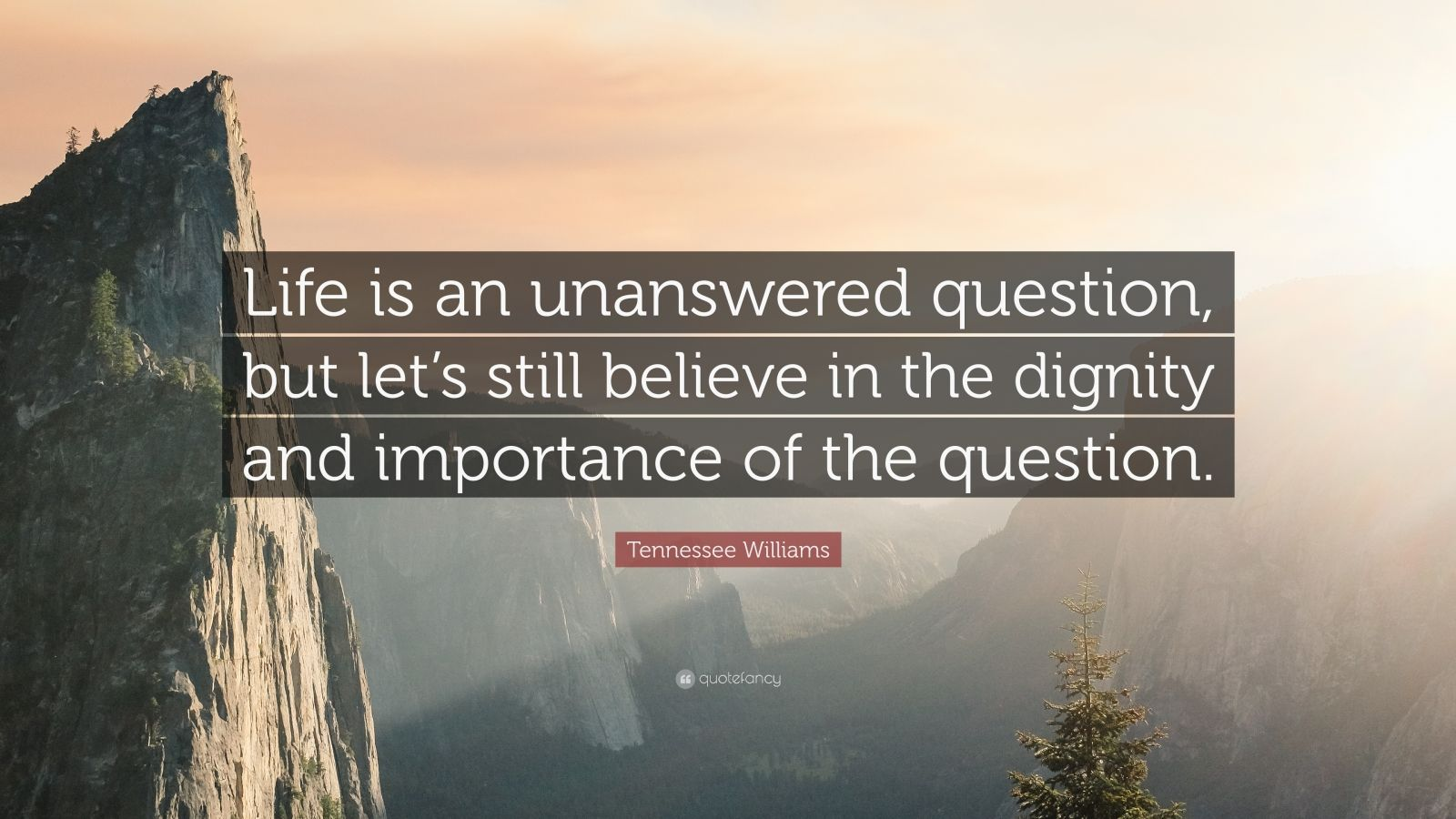 "Tennessee Williams Quote: ""Life is an unanswered question, but let's still believe in the dignity and importance of the question."""