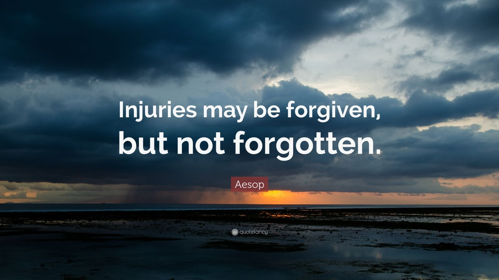 "Aesop Quote: ""Injuries may be forgiven, but not forgotten."""
