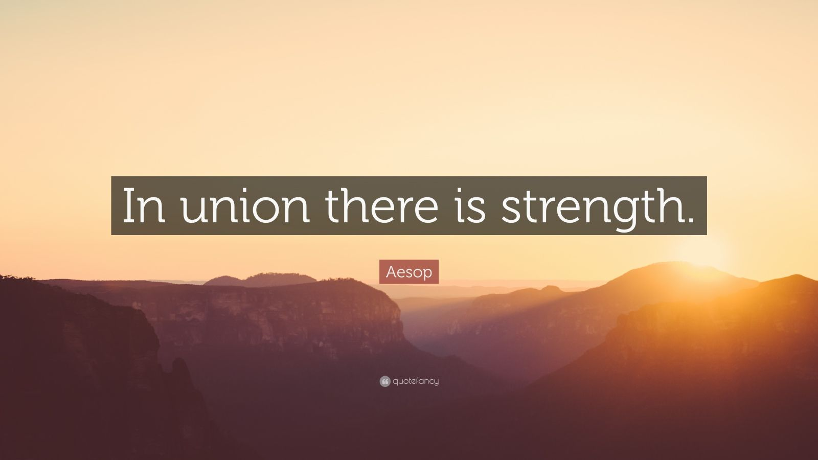 """Aesop Quote: """"In union there is strength."""""""