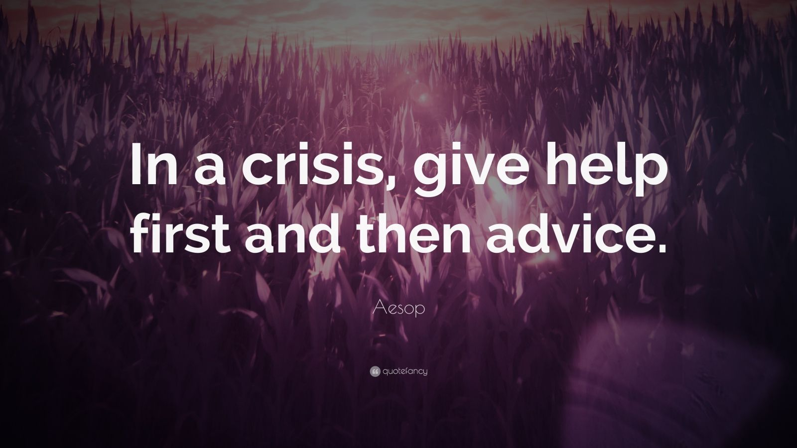 """Aesop Quote: """"In a crisis, give help first and then advice."""""""