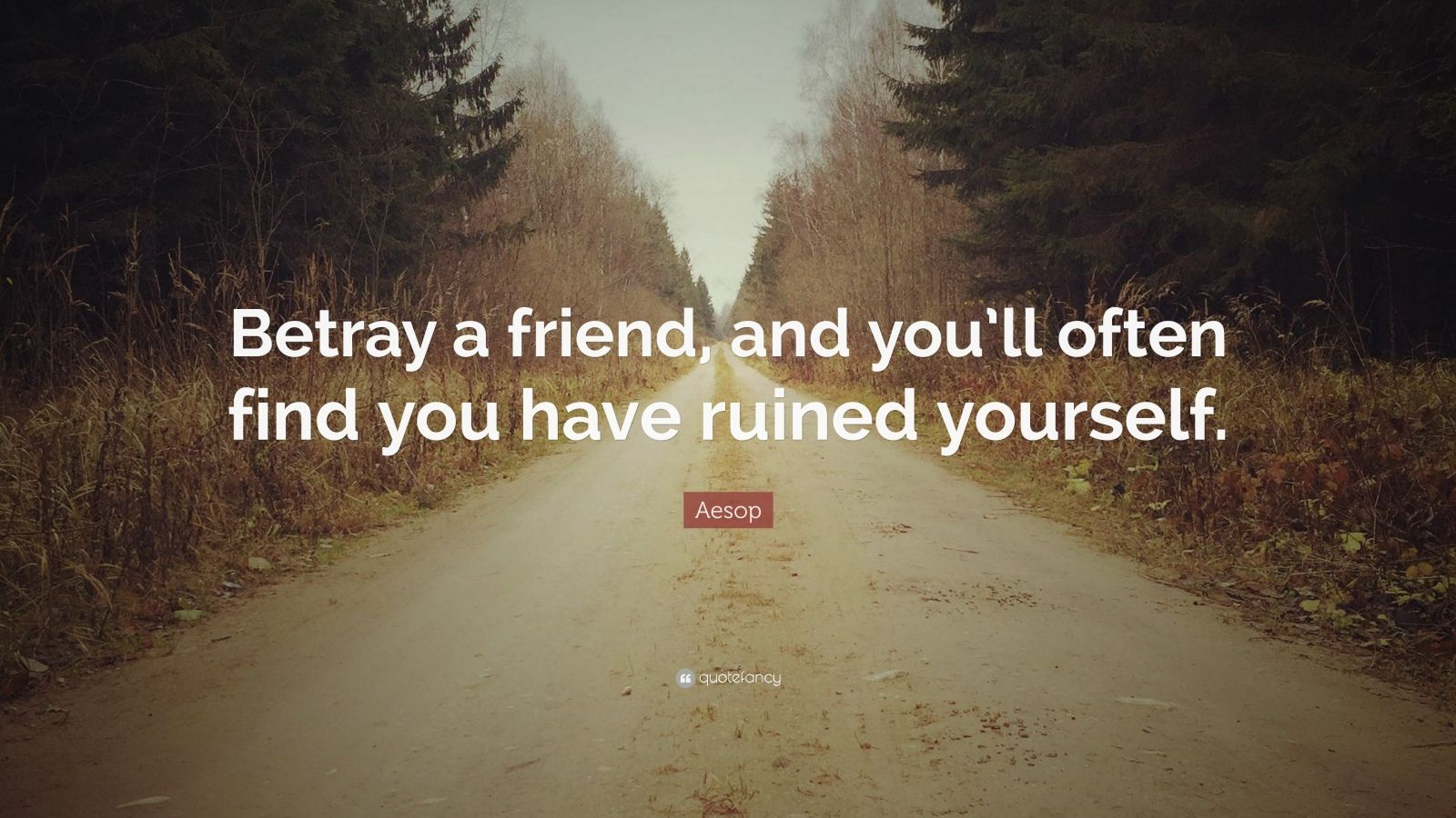 """Aesop Quote: """"Betray a friend, and you'll often find you have ruined yourself."""""""