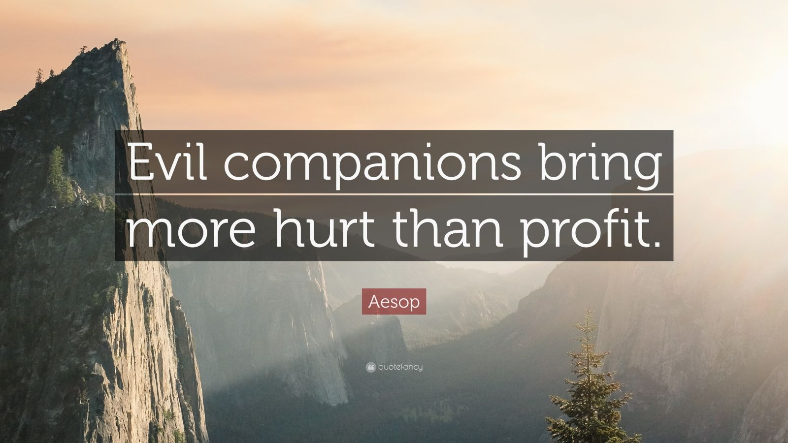 "Aesop Quote: ""Evil companions bring more hurt than profit."""