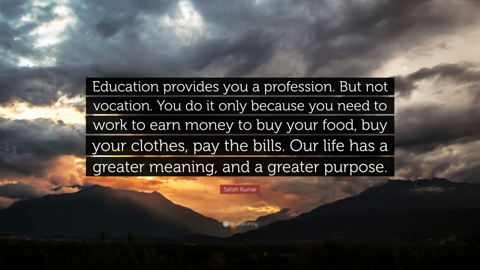 "Satish Kumar Quote: ""Education provides you a profession. But not vocation. You do it only because you need to work to earn money to buy your food, buy your clothes, pay the bills. Our life has a greater meaning, and a greater purpose."""