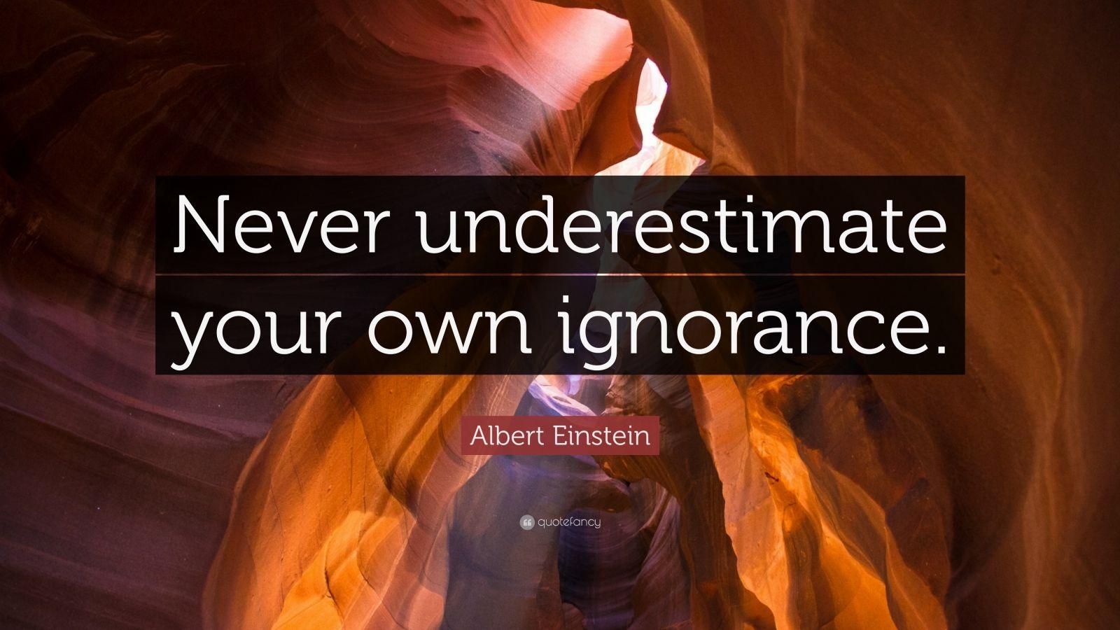 """Albert Einstein Quote: """"Never underestimate your own ignorance."""""""