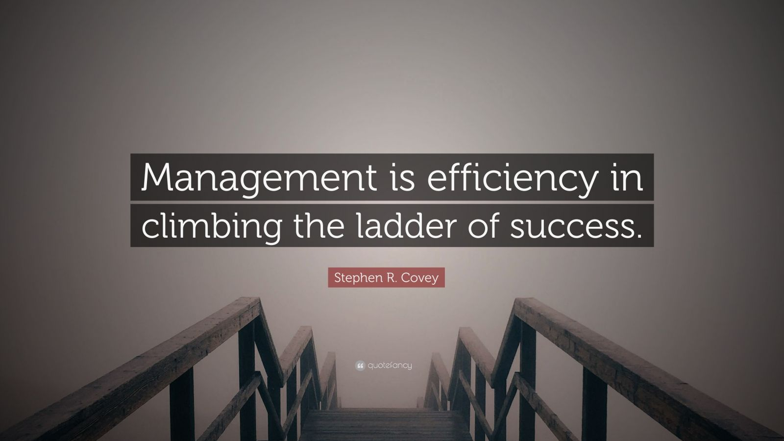 "Stephen R. Covey Quote: ""Management is efficiency in climbing the ladder of success."""