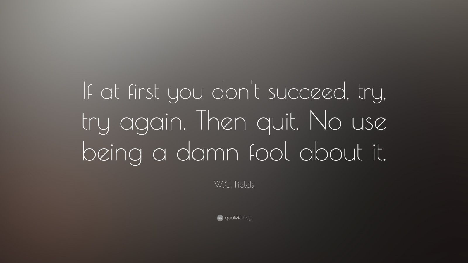 "W. C. Fields Quote: ""If at first you don't succeed, try, try again. Then quit. No use being a damn fool about it."""