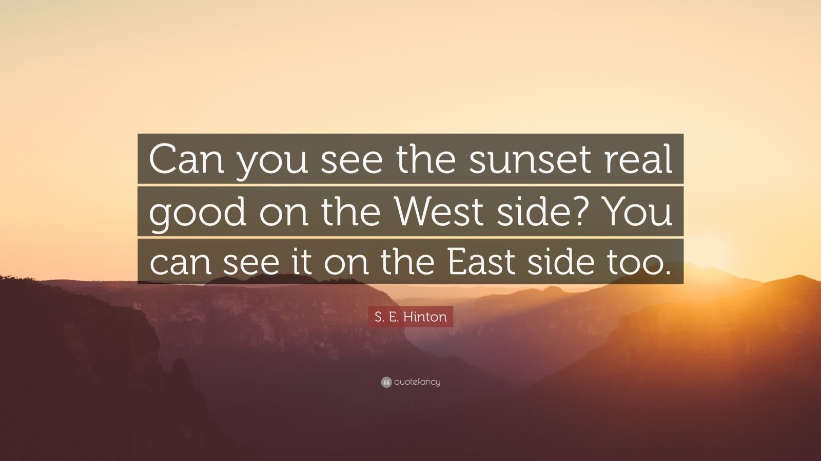 S  E  Hinton Quote   U201ccan You See The Sunset Real Good On